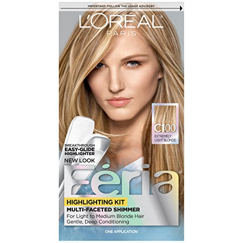 L'Oréal Paris Feria Multi-Faceted Shimmering Permanent Hair Color, C100 Star Lights Extreme (Highlighting Kit), 1 kit Hair Dye