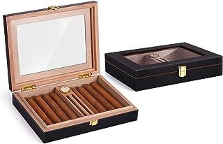 HANNICOOK High Gloss Cigar Humidor Cigar Box for 10-15 Cigars, Handmade Spanish Cedar Wood Cigar Box, Desktop Humidors with Luxury Hygrometer and Humidifier