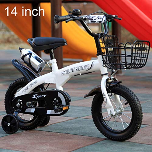 Luoshan 5188 de 14 Pulgadas Pedal del Marco Deportes Versión niños Acero de Alto Carbono de Bicicletas con el Frente de la Cesta y Bell, Altura Recomendada: 98-115cm (Naranja) (Color : White)