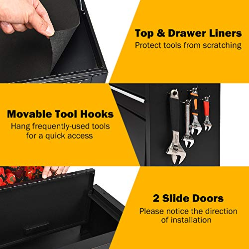 Goplus 6-Drawer Rolling Tool Chest w/Riser, 3 in 1 Rolling Tool Box w/Keyed Locking System, Detachable Top Box, Side Handle, Toolbox Organizer for Workshop Garage