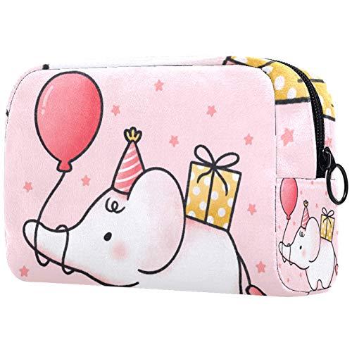 KAMEARI Bolsa de cosméticos lindo bebé elefante sosteniendo globo grande bolsa cosmética organizador multifuncional bolsas de viaje