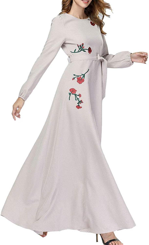 QINJLI Ladies Dress, highend Fashion Large Swing LongSleeved Muslim Robes Women's wear