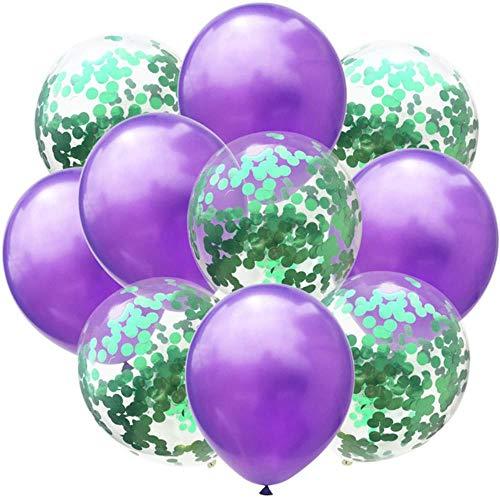 Xinger 10 stuks latex ballonnen en gekleurde confetti verjaardagsfeestje decoraties mix roos huwelijksverjaardag cadeau helium ballon, pruple en groen