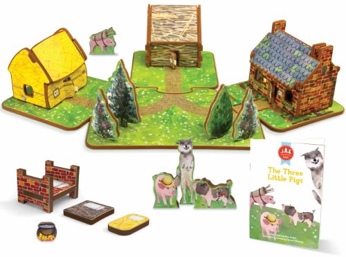 STORYTIME TOYS The Three Little Pigs Toy House and Storybook Playset