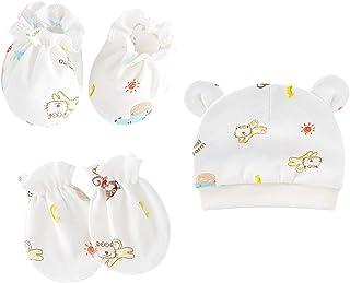 Aniwon, 5PCS Juego de gorro y manoplas para recién nacidos Calcetines para recién nacidos de algodón lindo y acogedor