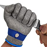 MAFORES Cut Resistant Glove Level 9 Stainless Steel Wire Metal Mesh Butcher Safety Work Glove for Meat Cutting, Fishing, Latest Material (Extra Large)