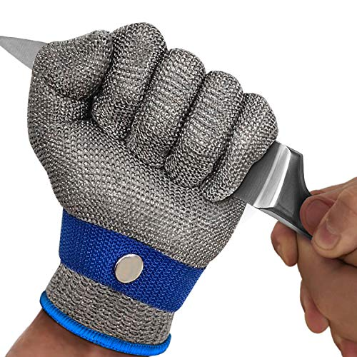 MAFORES Level 9 Cut Resistant Glove Stainless Steel Mesh Metal Wire Glove Durable Rustproof Reliable Cutting Glove for Meat Cutting, Fishing, Latest Material (Large)
