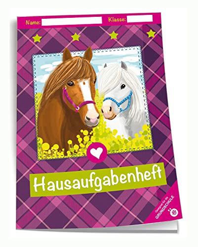 Trötsch Verlag  201841N - Hausaufgabenheft DIN A5 für die Grundschule, Pferde, 96 Seiten, mit extra starkem Klarsichtumschlag