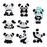 Toosunny 8 pcs Cute Panda Characters Toys Mini Figure Collection Playset, Cake Topper, Plant Decoration