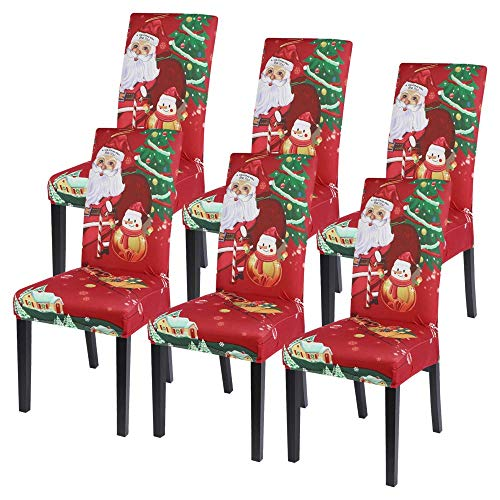 SearchI Chair Covers for Dining Room,Stretch Seat Slipcovers,Chairs Cover Protectors,Washable for Parson Armless Chairs,Home Decor Kitchen Restaurant Christmas Decoration Xmas Party 6 Pack-Santa Claus
