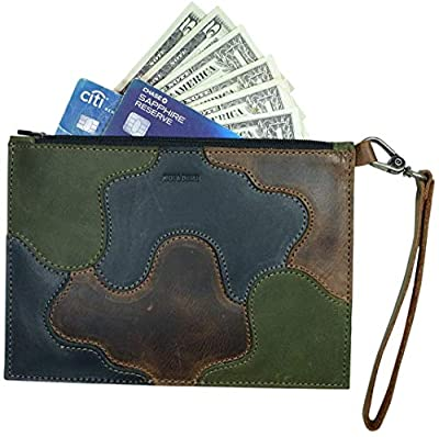 Hide & Drink, Leather Patched Clutch Bag, Phone Wallet, Cash Organizer, Traveling Accessories, Handmade - Multicolor