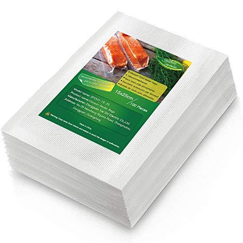Bolsas de Vacío para Alimentos, 100 Bolsas 15x25cm(0.49' x 0.82') Bolsas para envasar al vacio, Sin BPA, Bolsas de Vacio Gofradas para Conservación de Alimentos y Sous Vide Cocina & Boilable