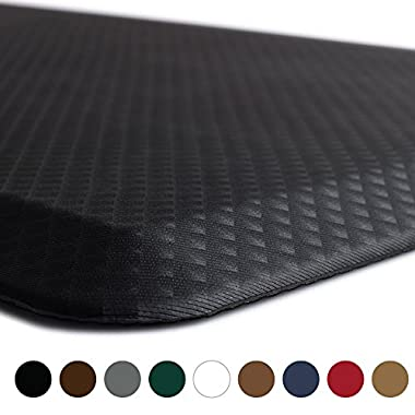 KANGAROO BRANDS Original 3/4  Anti-Fatigue Comfort Standing Mat Kitchen Rug, Phthalate Free, Non-Toxic, Waterproof, Ergonomically Engineered Floor Pad, Rugs for Office Stand Up Desk, 39x20 (Black)