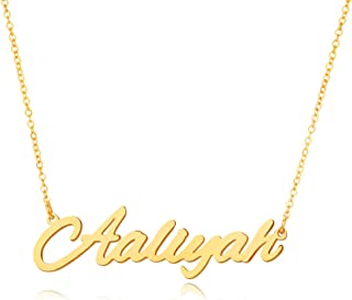 FAMARINE Custom Name Necklace, 18K Gold Plated Nameplate Personalized Jewelry Gift for Women Girl Dainty Necklace