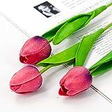 Jun7L Fleurs Artificielles, Faux Bouquet De Fleurs Tulipe Real Touch Bouquet De Mariée pour La Maison Garden Party Floral Décor 10 Pcs 34X5CM