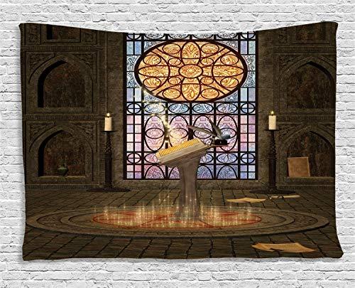 ABAKUHAUS gotisch Wandteppich, Pentagram magische Kerzen, Wohnzimmer Schlafzimmer Heim Seidiges Satin Wandteppich, 200 x 150 cm, Olivengrün Senf
