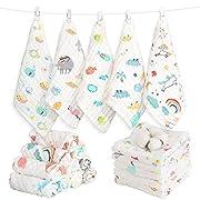 Caiery 10pcs Baby Musselin Waschlappen, Baby Badetücher/Weiche Neugeborene Baby Gesichtstücher, Mehrzweck-natürliche Baumwolle Baby Wipes 30cm*30cm