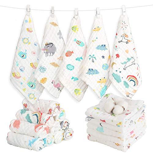 Caiery 10pcs Baby Musselin Waschlappen, Weiche Neugeborene Baby Gesichtstücher, Mehrzweck-natürliche Baumwolle Baby Wipes 30cm*30cm