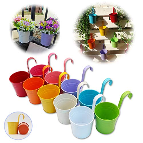 GIOVARA Set of 10 Metal Flower Pots Vase Hanging Planter Basket without Drainage Hole, Detachable Hook, Balcony Fence Garden Home Decor