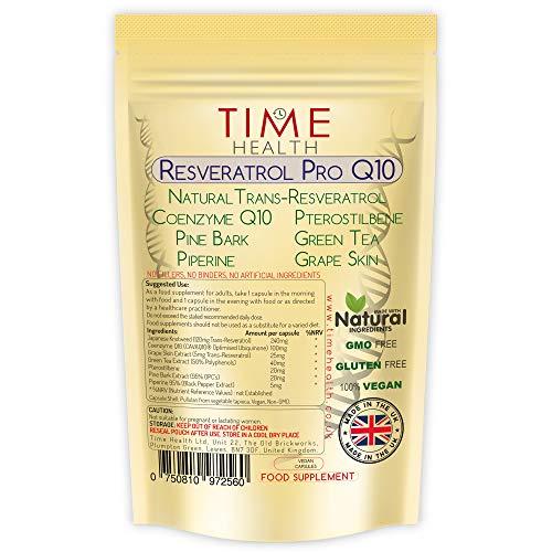 Resveratrol Pro Q10 Anti-Aging Formula , Trans-Resveratrol, Coenzyme Q10, Pterostilbene, Pine Bark, Green Tea, Grape Skin, Piperine, - Split Dose for Maximum Anti-Aging Benefits from Resveratrol and Q10 - UK Manufactured - Zero Additives - 60/120 Capsules - Pullulan (60 Capsules)