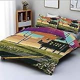 Juego de funda de edredón, collage de paisaje futurista Trippy en apartamento con efecto de pintura en la nube Juego de ropa de cama de 3 piezas decorativas con 2 fundas de almohada, multicolor, el me