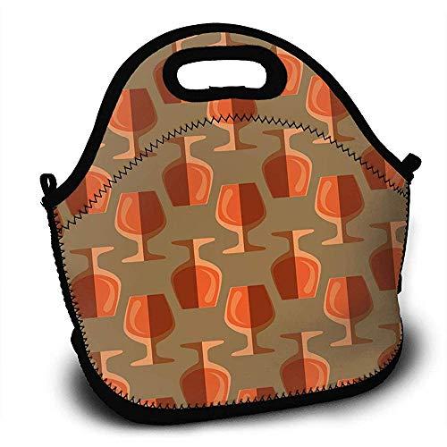 Neopreen Geïsoleerde Pop Art Cognac Glas Lunch Tassen Handtas met Verstelbare Schouderband voor Werk School Outdoor