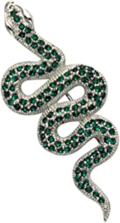 Wild Things Sterling Silver Snake Pin w/Faceted Green Crystals