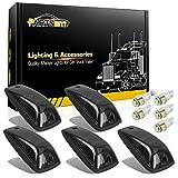 Partsam 5X Smoke Cab Marker Light Roof Light 264159BK + 5X White T10 LED Lights + Base Assembly Compatible with / C1500 C2500 C3500 K1500 K2500 K3500 1988-2002 Pickup Trucks