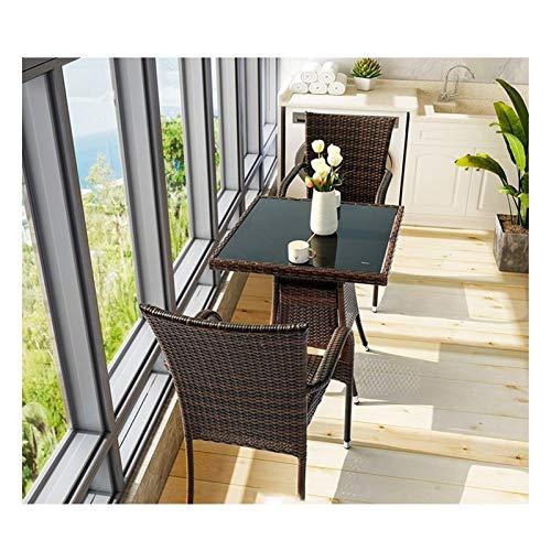 WANGQW Juego de sillas de Mesa de conversación de Patio, Muebles de Patio Muebles de jardín Liquidación de Vidrio Tabla de café Conversación Mesa de Centro Patio Conversación al Aire Libre