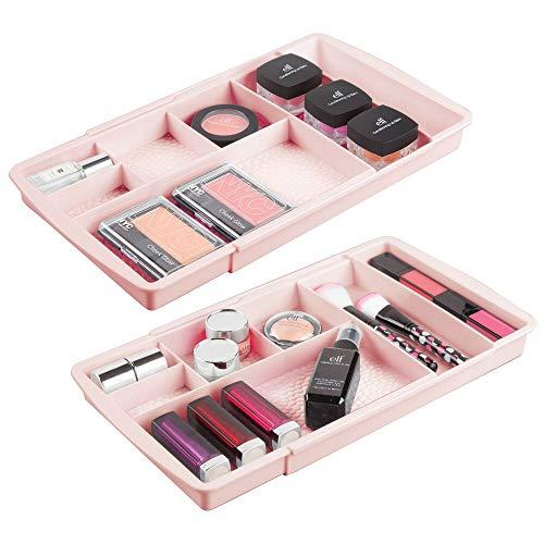 mDesign 2-częściowy zestaw wysuwanych organizerów do makijażu z wzorem deszczu – kosmetyki i uchwyty do makijażu do szafek łazienkowych i półek – nadaje się jako wkładka do szuflad – jasnoróżowy