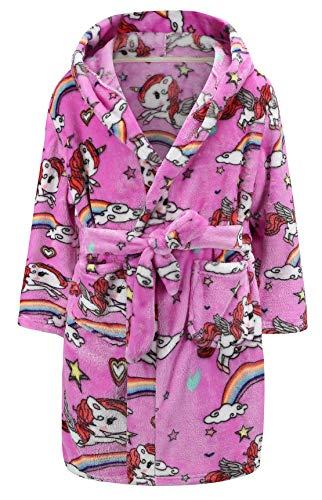 Albornoz infantil con capucha, estampado animal, suave franela con capucha, albornoz para niños con capucha, ropa de noche Lila Einhorn Altura 160 cm/11- 12 Años
