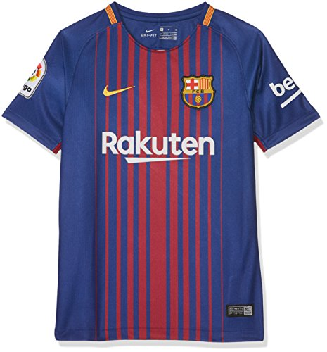 Nike 2017/18 Kids FC Barcelona Stadium Jersey with Sponsor [DEEP Royal Blue] (M)