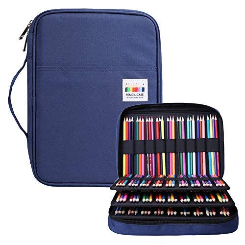 BOMKEE Federmäppchen mit 220 Schlitze Mehrschichtige Bleistift Organizer für Prismacolor Aquarell Bleistifte, Crayola Buntstifte, Marco-Stifte, Kosmetikpinsel(Blau)