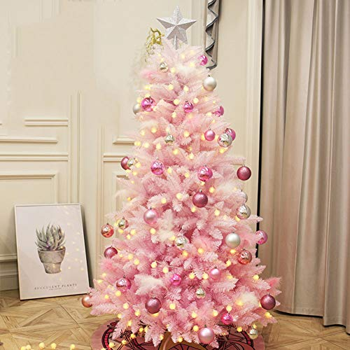 DULPLAY Pink Pre-Decorated Classic Artificial Christmas Tree, Premium Spruce Hinged with Multicolored Lights for Indoor Outdoor-c 6.8Ft(210cm)
