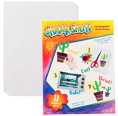 Shrink Films - 12-Pack Clear Shrink Art Papers for Kids, Transparent Shrink Sheets, Creative Art & Craft Supply, DIY Drawing Project for Classroom, Teachers, Students, Clear, 8.5 x 11 Inches