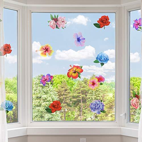 18 Stück Blumen Anti-Kollision Fensterbilder Alarm Vogel Fenster Aufkleber Vinyl Blumen Aufkleber Party Zubehör Verhindern Vogelschlag auf Türen und Fenster Glas