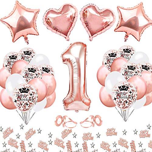 MMTX Ballon 1 an Deco Anniversaire Fille 1 an Rose Gold, Ballon Chiffre Anniversaire , Decoration Anniversaire 1 an Fille avec étoile Coeur Feuille Ballon Joyeux Confettis pour Les Bébé Douche