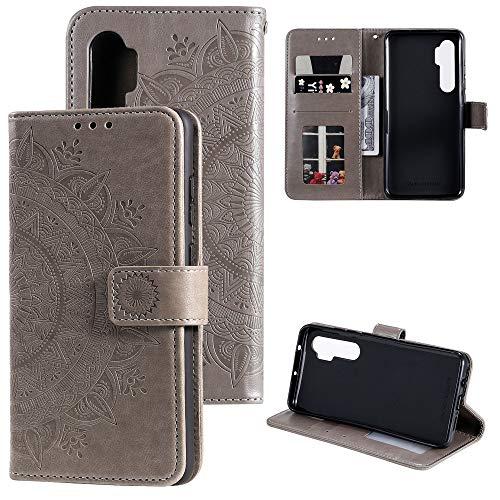 CoverKingz Handyhülle für Xiaomi Mi Note 10 Lite - Handytasche mit Kartenfach Note 10 Lite Cover - Handy Hülle klappbar Motiv Mandala Grau
