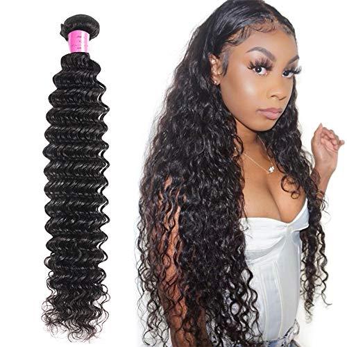 FDX Deep Wave Human Hair 1 Bundles 22 Inch (100g/Bundle) 9A Unprocessed Brazilian Virgin Deep Curly Hair Weave Extensions Natural Color 22 Inch