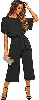 Women's Elegant Jumpsuit High Waist Crewneck Overall Short Sleeve Wide Leg Romper Midilength Playsuits with Belts