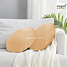 Angel Mommy Luxurious Decorative Velvet Round Cushions - Insert Filler with Zippered Cover, Ivory (Pack of 2)