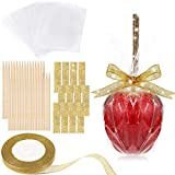 36 Pieces Bamboo Sticks 5 Inch Candy Stick, 36 Bling Rhinestone Decoration Sticker, 36 Candy Glass Paper, 1 Roll 25 Yard Glitter Ribbon, 109 Pieces Candy Making Accessory (Gold)