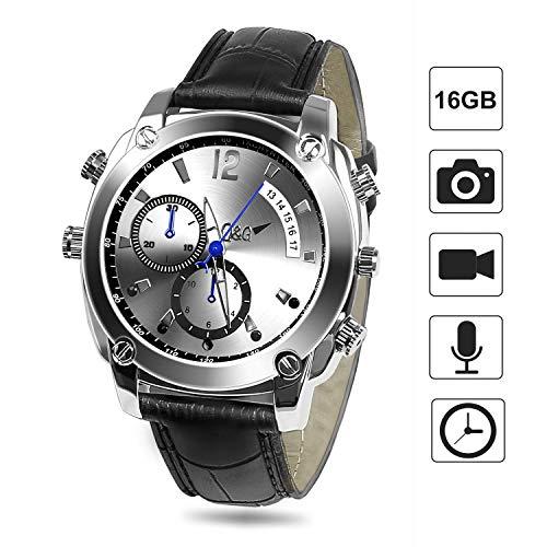 Reloj espía, FLYLINKTECH HD 1080P Hidden Watch 16 GB cámara Oculta con visión Nocturna IR y función Impermeable