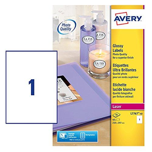 Avery L7767 etiketten, glanzend, voor kleurenlaserprinter, 40 vellen