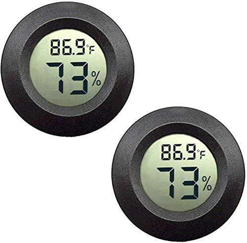 ICQUANZX 2パックミニ湿度計温度計デジタルLCDモニター室内屋外湿度計ゲージ加湿器除湿器温室地下室華氏または摂氏(ブラック2パック)