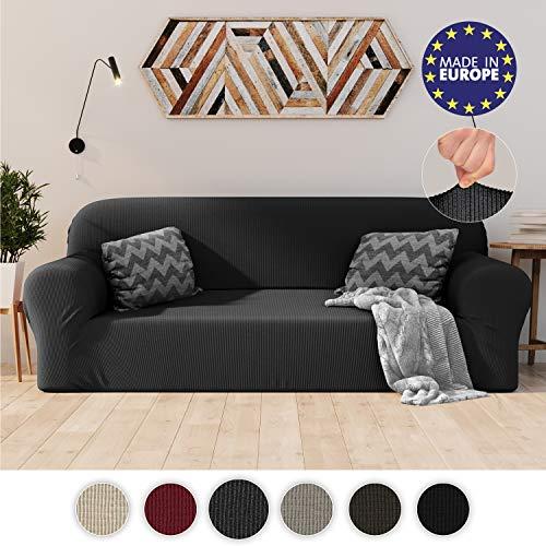 Dreamzie Dehnbarer Sofaüberwurf 3-Sitzer Grau - Zertifiziert Chemikalienfrei, Sofahusse aus recycelter Baumwolle - Schützt Sofas vor Flecken - Elastischer Sofabezug In Europa Hergestellt