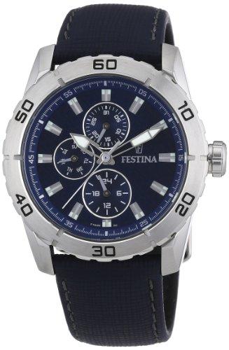 Festina F16607/2 - Reloj analógico de Cuarzo para Hombre con Correa de Piel, Color Azul