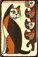 ヴィンテージペット動物日本の侍猫サイン壁アートレトロな家の装飾のための金属板