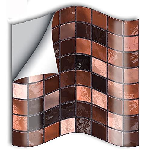 azulejos adhesivos cocina,25 piezas de decoración de la sala de estar pegatinas de pared pegatinas de azulejos, mosaico marrón decoración del hogar pegatinas de azulejos de renovación -15cm