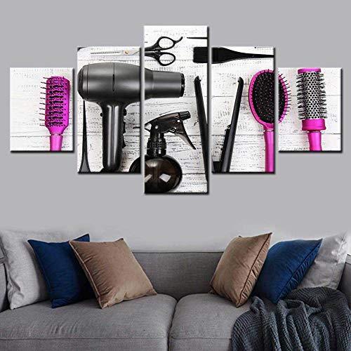 MXYXD Leinwanddrucke 5 Stücke,Friseur Werkzeuge Schere Kamm Poster Wandkunst Moderne Wohnkultur Modulare Friseurladen Schönheitssalon Tapete Größe B Keine Rahmen